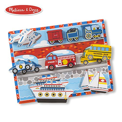 (Melissa & Doug Vehicles Wooden Chunky Puzzle - Plane, Train, Cars, and Boats (9 pcs))