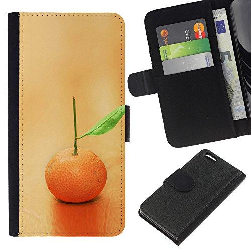 Lead-Star (Fruit Macro Lonely Orange) Colorful Impression Holster Cuir Wallet Cover Housse Peau Cas Case Coque Pour Apple iPhone 5C