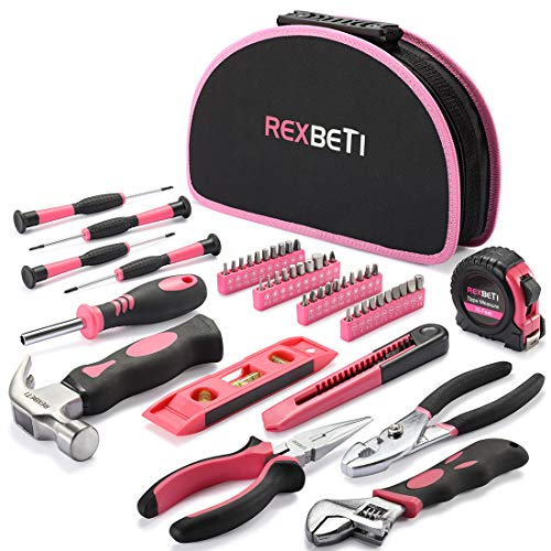 REXBETI 52-Piece Pink Tool Kit, Ladies Premium Solid and Real Hand Tool Set with Easy Carrying Round Pouch, Perfect for Household Projects, Home Maintenance and Dorm Repair (Tool Kits For Girls)
