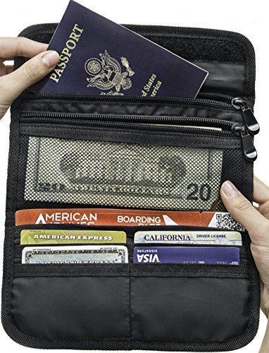 Travel Passport Wallet Anti-Theft Hidden Pocket Conceal Credit Card and Cash - Organize Documents and Reciepts
