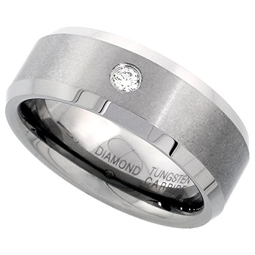 8mm Tungsten 900 Diamond Wedding Ring 0.072 cttw Beveled Edges Comfort fit, size (Diamond Mens Fashion Band)