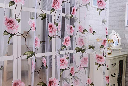 1PC Flower Curtain,Eoeth Peony Tulle Window Screens Door Balcony Curtain Sheer Cover Wedding Party Home Garden Bedroom Outdoor Indoor Wall Decorations Drapes(Shipped by US) Free Post,Fast Arrival from Eoeth