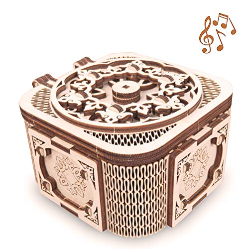 GuDoQi 3D Wooden Puzzle, Treasure Box with Music, Mechanical Model to Build, Wooden Craft Kit for Teens and Adults, DIY Assembly Toy, Gifts for Birthdays and Holidays