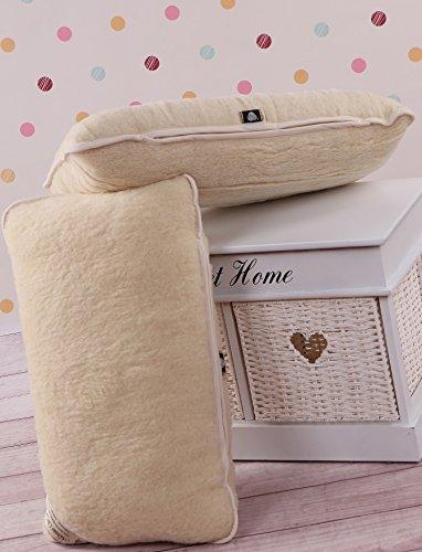 Lambswool Pillow (TWO 100% Merino Wool Pillow Lambswool Wool Fleece Pillow Protector, Standard 18