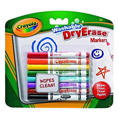 Dry Erase Markers Hang Pack 8's - Washable, Bold and Bright Colours!