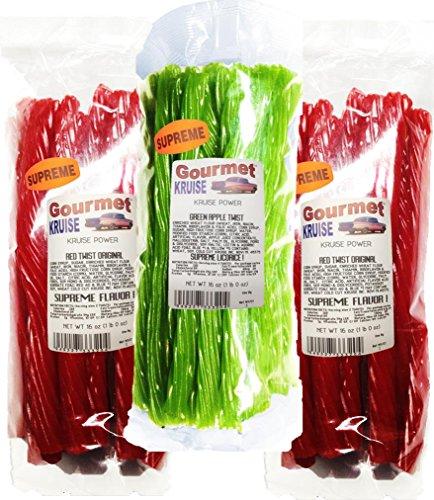 Red Licorice Original Twist 2-1lb Bags (1) Green Apple Twist Licorice 1lb (NET WT 48 OZ) Gourmet Kruise Signature Gifts