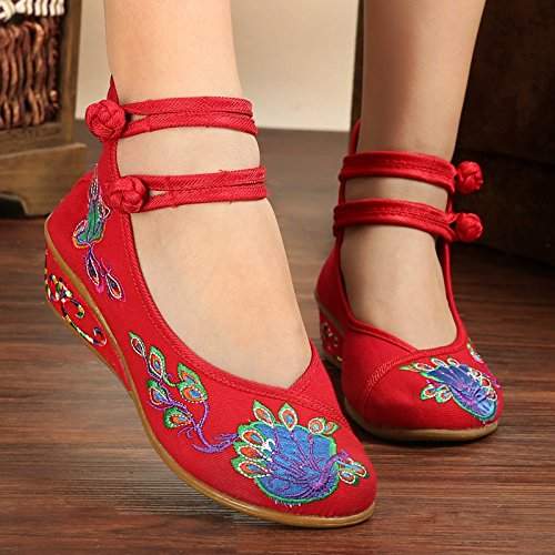 red Embroidered Shoes Ring wedge Women 36 Strap Foot pzYqYAS