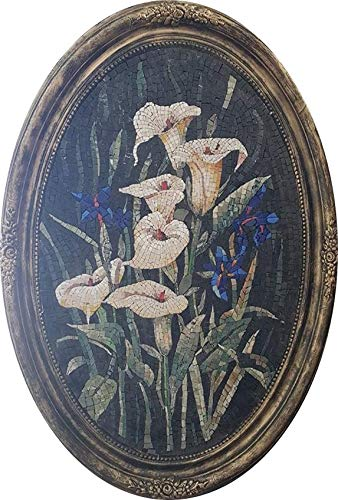 Mosaic Bart - ORIGINAL - White Lilies Mosaic Marble Stone Wall Art - Home-Office-Business Decor - 36