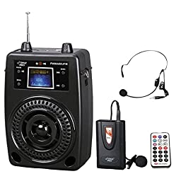 PYLE-PRO PWMA80UFM 100 W Portable PA System With Included Wireless Lavalier Microphone, FM Radio, MP3/USB/SD, and Aux-In/Out