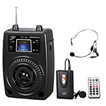Pyle-Pro Pwma80ufm 100 W Portable Pa System with Included Wireless Lavalier Microphone, Fm Radio, Mp3/Usb/Sd and Aux-In/Out