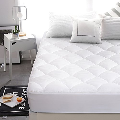 Abakan King Superior Double-Sided Mattress Pad Cover, Stretches up to 8-21 Inches Deep, Down Alternative Quilted Cooling White mattress Topper by Abakan