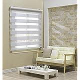 Custom Cut to Size , [Winsharp Combi Irene] Roller Zebra Fabric Shade Horizontal Window Blinds & Treatments , White , W 59 x H 64 (Inch) , 92 Inch Wide by 72 Inch Long