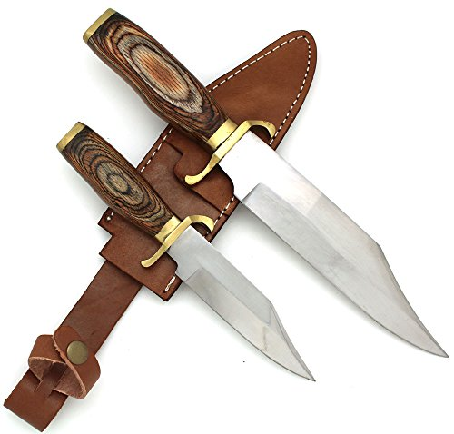 (Wild Turkey Handmade 2 Piece Bowie Knife Set w/ Leather Sheath Hunting Camping Fishing Outdoors)