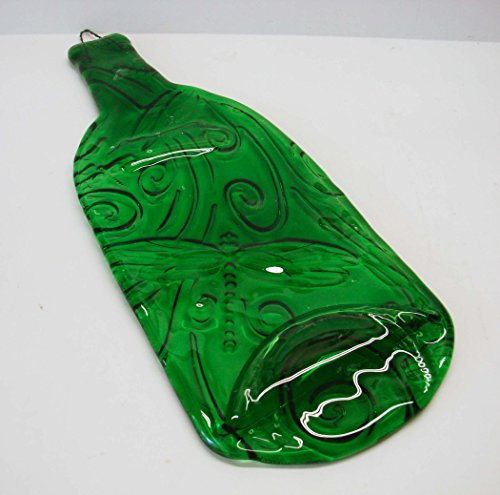 Dragonfly Embossed Light Green Wine Bottle UpCycled as Cheese Platter Serving Tray