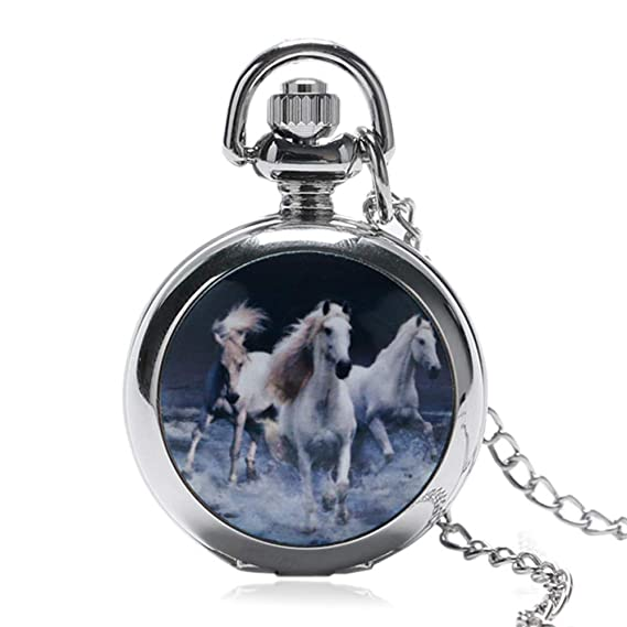 Reloj de Bolsillo para Caballo Retro, Estilo Vintage, diseño de Caballo de Plata,