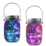 Solar Jar Fairy Lights,Bottle Twinkle Chandelier Light with Lid Rustic Vintage 10 LED Starry String Outdoor Hanging Lantern Garden Decor Holiday Party Table Night Lamp Kids Gift 2 Pack