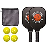 Amazin' ACES Pickleball Paddle Bundle | Set Includes Two Graphite Paddles + Four Balls + One Mesh Pickleball Carrying Bag | Classic Rackets Feature Graphite Face PP Honeycomb Core