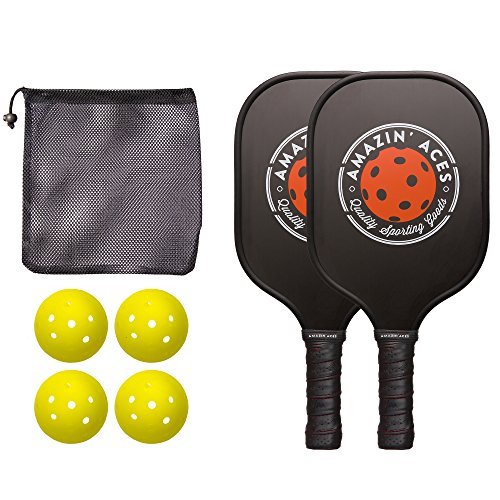 Amazin' Aces Pickleball Paddle Bundle | Set Includes Two Graphite Paddles + Four Balls + One Mesh Pickleball Carrying Bag | Classic Rackets Feature Graphite Face with PP Honeycomb Core
