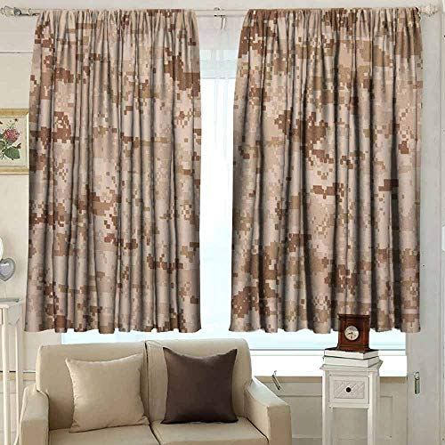 XXANS Thermal/Room Darkening Window Curtains,Camo,Darkening and Thermal Insulating Draperies,W63x72L Inches Brown Pale Brown Cinnamon
