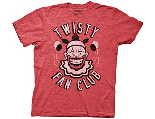 Ripple Junction American Horror Story Adult Unisex Twisty Fan Club 2 Color Light Weight Crew T-Shirt SM Heather Red ()