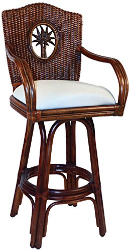 Hospitality Rattan 913-6208-TCA-C Lucaya Indoor Swivel Rattan & Wicker Counter Stool in TC Antique Finish with Cushion, 24