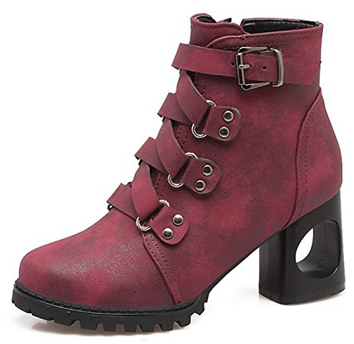 Aisun Womens Strappy Round Toe Inside Zip Up Ankle Boots Punk Chunky High Heel Booties With Zipper Wine Red
