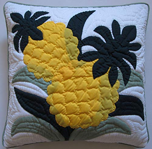 (Hawaiian Quilt 2 Pillow Covers, Cushions, 100% Hand Quilted/hand Appliqued 18
