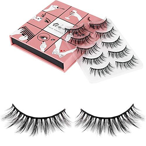 Fake Eyelashes Wenida 5 Pairs 100% Handmade Reusable Premium Quality Long Strip Deluxe Classic False Eyelashes