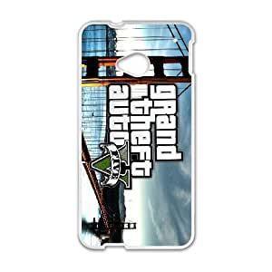 HTC One M7 Cell Phone Case White Grand Theft Auto V OJ554714