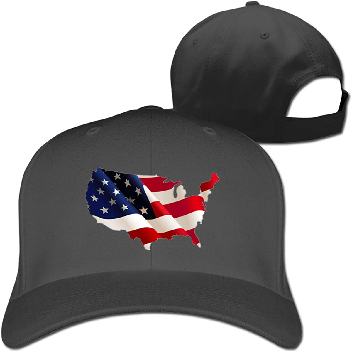 USA Flag Map Classic Adjustable Cotton Baseball Caps Trucker Driver Hat Outdoor Cap Fitted Hats Dad Hat Black