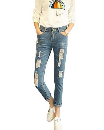5366849d3b83 Taille Femme Jeans Jeans Slim Crayon Boyfriend Denim Haute Trous qSR44xOwT