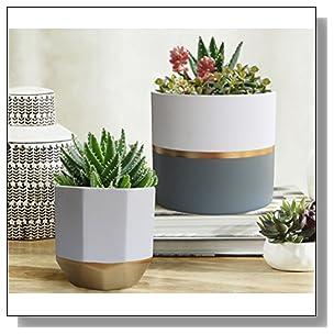 LA JOLIE MUSE White Ceramic Flower Pot Garden Planters 6.5