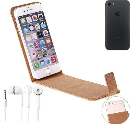Korkhülle Flipstyle Case Schutzhülle für Apple iPhone 7 + Kopfhörer, Kork Case Hülle Flip cover Smartphone Tasche - K-S-Trade (Wir zahlen Steuern in Deutschland!)