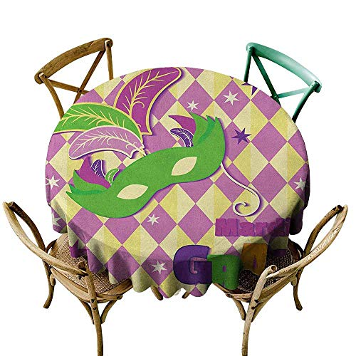 Round Tablecloth Mardi Gras,Checkered Pattern with Stars Graphic Mask Harlequin Festival Composition, Pink Yellow Green D54,Round Tablecloth