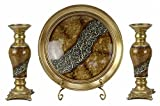 D'Lusso Designs Torina Collection Four Piece Charger, Stand And Two Candlestick Set