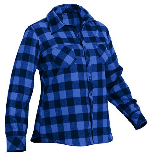 Rothco Women's Plaid Flannel Shirt, Blue/Black, Medium