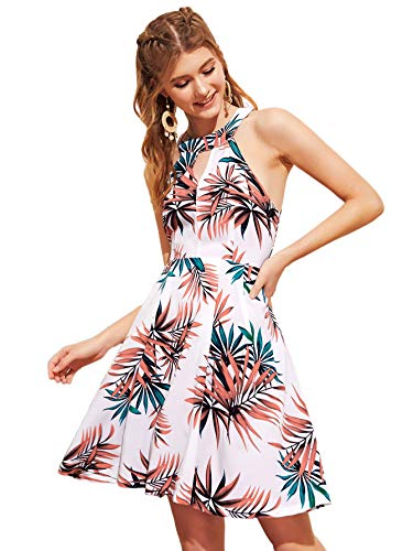 - Floerns Women's V-Cut Floral Print Sleeveless Halter Party Dress Multicolor-4 XL