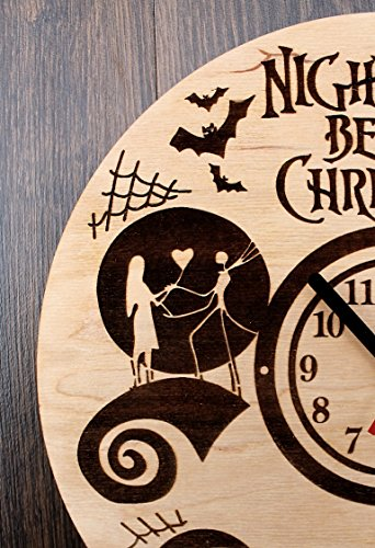 Jack Skellington Sally Nightmare before Christmas Design Real Wood Wall Clock - Eco Friendly Natural Nursery Wall Decor - Creative Gift Idea for Teens and Youth by Wood Crafty Shop (Image #1)