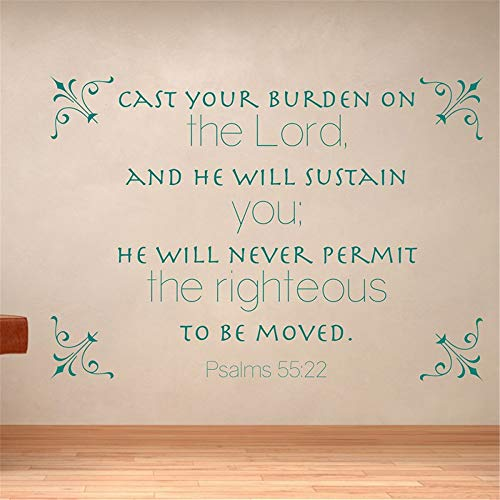 Vinyl Wall Statement Family DIY Decor Art Stickers Home Decor Wall Art Cast Your Burden On The Lord and He Will Sustain You