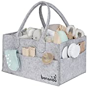 Bananoo Baby Diaper Caddy and Nursery Organizer (Grey, for Boy and Girl) - Sturdy Felt Prevents Sagging - Separators for Custom Organization - Suitable for Car, Travel and Changing Diapers Anywhere