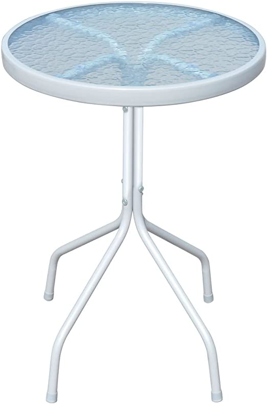 Roderick Irving - Mesa de jardín redonda de cristal (50 x 71 cm, cristal), color gris: Amazon.es: Hogar