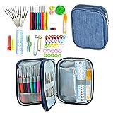 EA-STONE 72 Pcs Handle Aluminum Crochet Hooks Set,Yarn Knitting Tools Needles Sewing Tools Set with Zipper Case