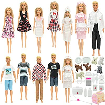 SOTOGO 45 Pieces Doll Clothes and Accessories for 11.5 Inch Girl Boy Doll Pet Hospital Include 12 Set Handmade Doctor Nurse and Casual Clothes, 33 Pieces Dog Pet and Doctor Toys Accessories: Toys & Games