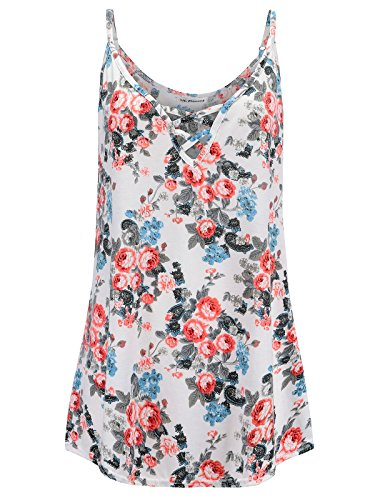 Cardigan & Floral Print Skirt - 7th Element Plus Size Tank Tops V Neck Camisoles Cami Summer Sleeveless Top for Women (Floral Print - White Rose,4X)