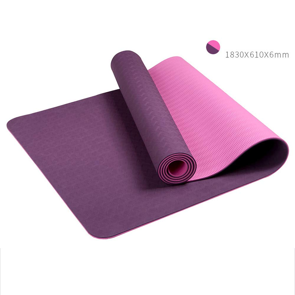 LS-Exercise Fitness Yoga Mat: Yoga Mat Thickening Widened Men and Women Beginners Fitness Multi-Function Double-Sided Non-Slip Yoga Mat [4 Color Optional]& (Color : Glamour Purple)