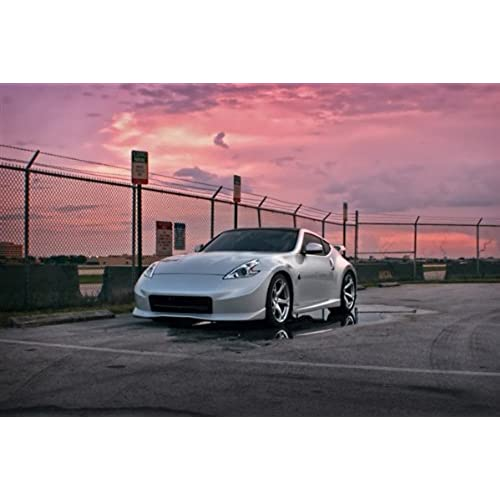 Nissan 370Z NISMO 370 Z34 Silver Left Front Sunset HD Poster Sports Car 48  X 32 Inch Print