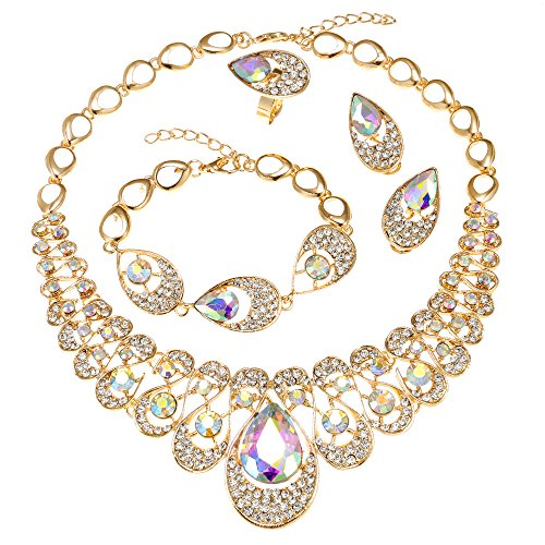 MOOCHI 18K Gold Plated Water Drop Pendant Crystal Embedded Necklace Jewelry ()