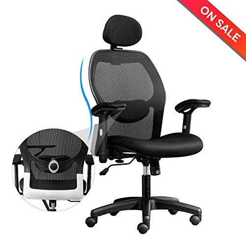 LONGEM High-Back Mesh Office Chair - Adjustable Armrests,Back Lumbar Support,Adjustable Headrest Ergonomic Computer Desk Task Executive Chair(BIMFA (Adjustable Armrests)