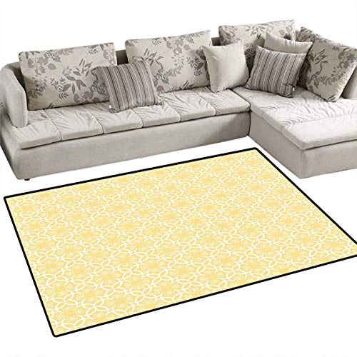 Yellow and White Area Rugs for Bedroom Ornate Floral Pattern with Swirls Curls Symmetrical Overlap Motifs Door Mats for Inside Non Slip Backing 55