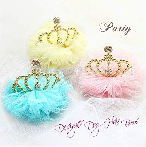 Macaroon Color Luxury Aulic Gauze Crown Dog Accessories Hair Bows pet Grooming for $<!--$20.00-->